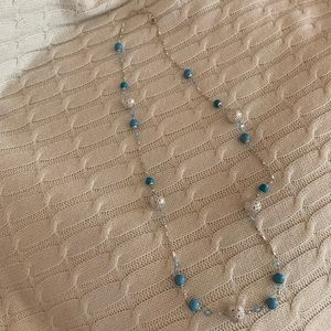 Silver and Blue Long Necklace